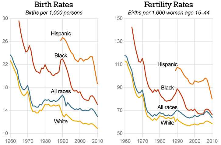 Birth and fertility rates have fallen significantly since 1960